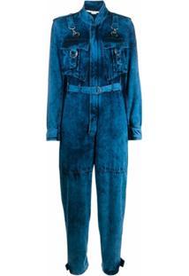 Stella Mccartney Macaão Jeans Com Efeito Descolorido - Azul