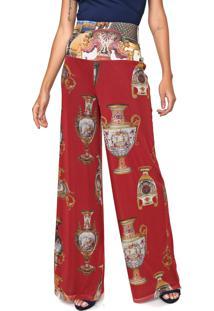 Calça Carmim Pantalona Tule Catarina Vermelha