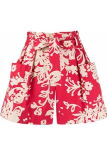 Redvalentino Short Com Estampa Floral - Vermelho