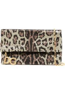 bd98f269a2 ... Dolce   Gabbana Bolsa Transversal Com Animal Print - Metálico