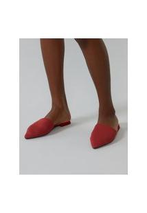 Amaro Feminino Sapatilha Mule Tricot Bico Fino, Vermelho Escuro
