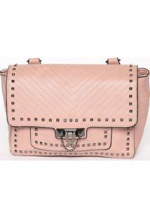 Bolsa Transversal Com Rebites- Rosa Claro- 17X24X9Cmfedra