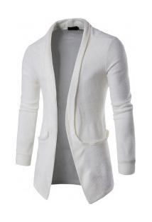 Cardigan Masculino Slim Com Design Bolso Lateral - Branco