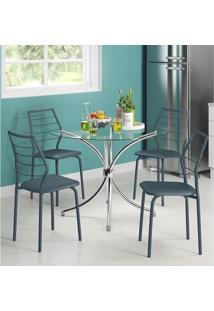 Mesa 375 Vidro Incolor Cromada Com 4 Cadeiras 1716 Azul Noturno Carraro