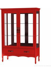 Cristaleira Com Vidro Luiza 2 Portas Vermelho - Urbe Móveis