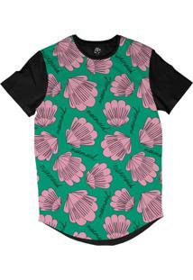 Camiseta Bsc Longline Concha Sereia Sublimada Preta Verde