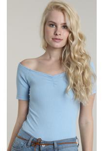 Blusa Feminina Cropped Canelada Com Franzido No Busto Manga Curta Azul Claro