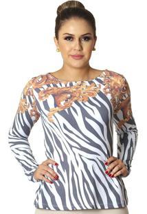Blusa Ficalinda Com Proteção Solar Uv Estampa Zebra Barroco Dourado Branca
