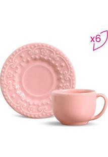Jogo De Xícaras Esparta Para Chá- Rosa Claro- 6Pçs