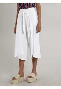 Calça Feminina Pantacourt Envelope Texturizada Off White