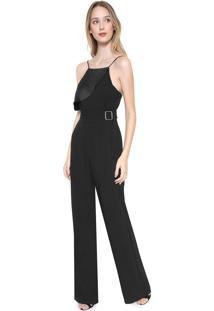 Macacão Calvin Klein Jeans Pantalona Cinto Preto