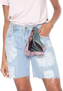 Bermuda Jeans Lança Perfume Slim Destroyed Azul