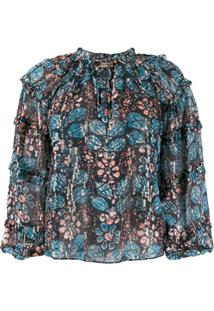 Ulla Johnson Blusa Com Estampa Abstrata - Azul