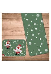 Jogo Americano Com Caminho De Mesa Merry Christmas Kit Com 4 Pçs + 1 Trilho