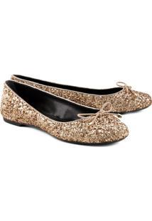 Sapatilha Com Glitter & Laã§O- Douradaschutz