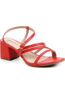 Sandália Shoestock Salto Bloco Feminina - Feminino-Vermelho