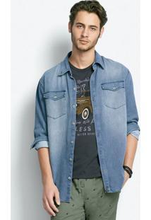 Camisa Jeans Masculina Comfort Em Algodão