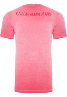 Camiseta Masculina Logo Frente E Costas - Vermelho