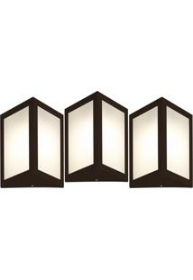 Arandela Triangular Marrom Kit Com 3 Casah - Marrom - Dafiti