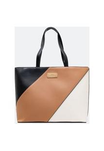 Bolsa Grande Feminina Shopper Tricolor | Satinato | Multicores | U