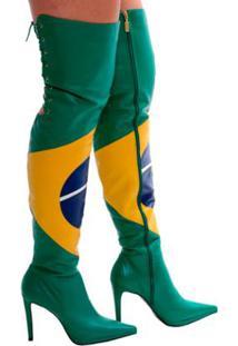 Bota Over The Knee Brasil - Feminino-Verde+Amarelo