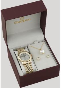 Kit De Relógio Analógico Champion Feminino + Colar + Brinco - Cn25074W Dourado