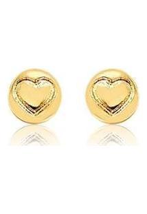 Brinco Coração Redondo Banhado A Ouro 18K Semijoia Lys Lazuli Feminino - Feminino-Dourado