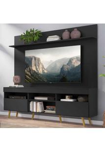 """Rack Com Painel Tv 65"""" Madri Multimã³Veis Pã©S Retrã´ E Prateleira Preto/Natural - Preto - Dafiti"""
