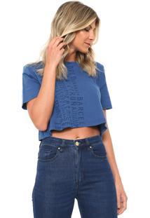 Camiseta Cropped Lança Perfume Lettering Azul