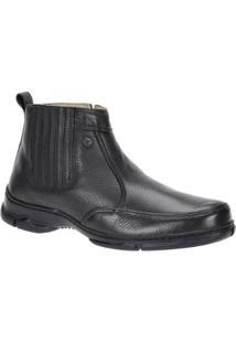 Bota Couro Zíper Urbana Boots Masculina - Masculino-Preto