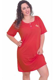 Camisola Vip Lingerie Com Bordado Vermelho - Vermelho - Feminino - Poliã©Ster - Dafiti