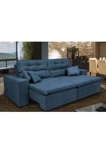 Sofá Cairo 2,92M Retrátil Reclinável, Molas No Assento, 4 Almofadas Tecido Suede Azul - Cama Inbox