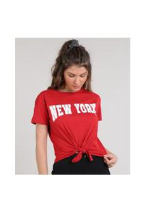 "Blusa Feminina New York"" Manga Curta Decote Redondo Vermelho"""
