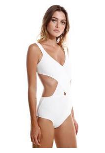 Body Rosa Chá Mirela Tricot Off White Feminino Body Mirela-Off White-Pp