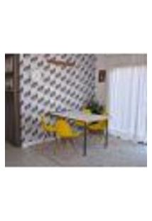 Conjunto De Mesa Dobrável Retrátil 1,40 Branco/Noronha + 4 Cadeiras Eiffel - Amarela