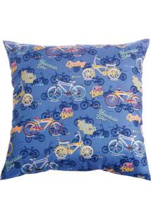 Capa De Almofada Bicicletas- Azul & Amarela- 42X42Cmstm Home