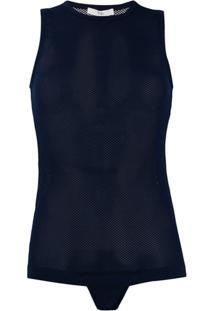 Tibi Sleeveless Bodysuit Top - Azul