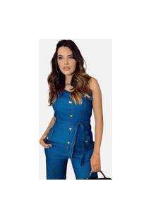 Macacão Jeans Summer Body Com Botões Acinturado Regata Azul