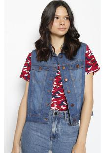 Colete Jeans Com Botãµes- Azulhering