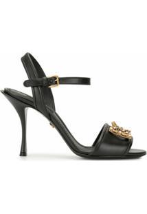 Dolce & Gabbana Sandália Dg Amore Com Esferas Peroladas E Salto 95Mm - Preto