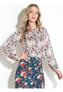 9805d32bf9 ... Blusa Floral Off White Com Recortes
