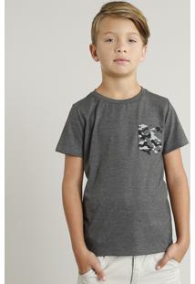 Camiseta Infantil Com Bolso Estampado Manga Curta Gola Careca Cinza Mescla Escuro