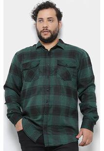 Camisa Delkor Manga Longa Xadrez Plus Size Masculina - Masculino-Verde