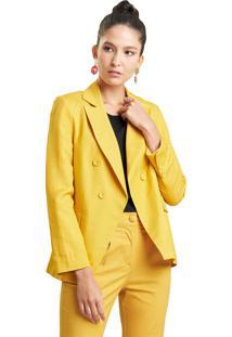 Blazer Mx Fashion Alfaiataria De Linho Polyanna Mostarda - Tricae