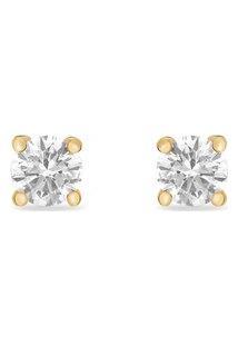 Brinco Solitário Ouro Amarelo E 60 Pontos De Diamantes