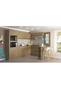 Cozinha Modulada Completa 7 Módulos Com Balcão Ilha E Painel Decorativo Adorei Castanho - Decibal