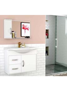 Gabinete Para Banheiro Apus 62,5X43X80Cm Com Lavatório E Espelheira Branco Cerocha