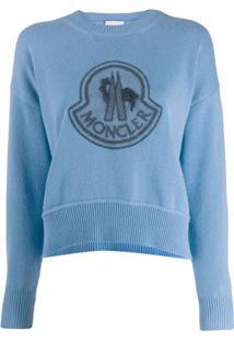 Moncler Moletom Com Logo Bordado - Azul