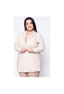 Casaco Almaria Plus Size Kalanchoe Liso Botões Off-White