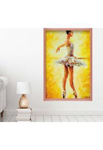 Quadro Love Decor Com Moldura Ballet Rose Metalizado Grande